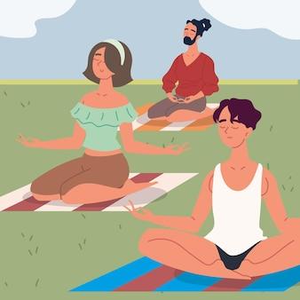 Люди занимаются медитацией