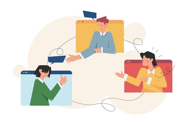 Люди, проводящие деловую встречу в интернете