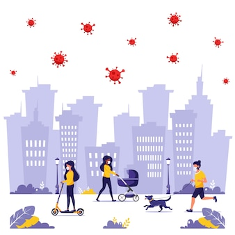 People doing outdoor activities during pandemic. jogging in mask, walking in mask with dog, walking in mask with baby.