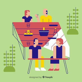 People doing outdoor activities flat design