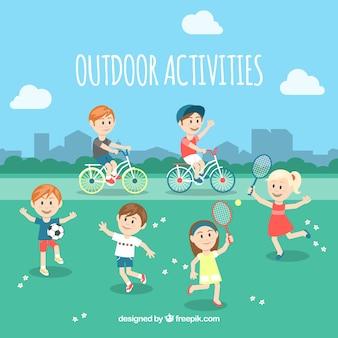 People doing outdoor activities with flat design