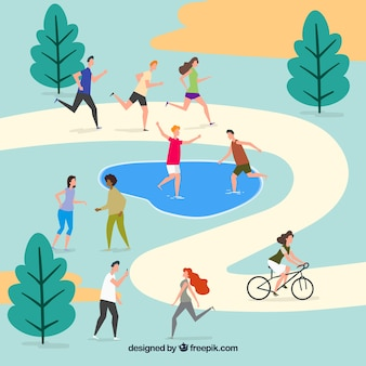 People doing outdoor activities with flat design