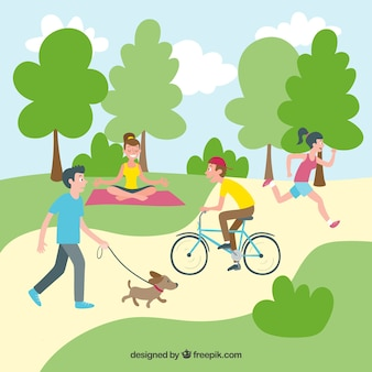 People doing outdoor leisure activities with flat design
