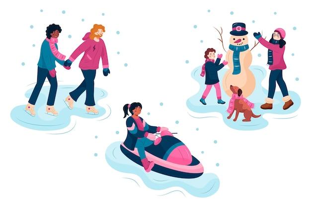 People doing outdoor winter activites