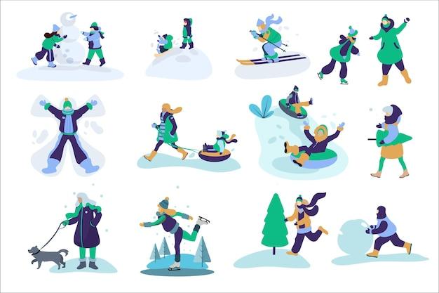 冬の野外活動をしている人