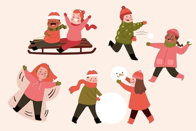 겨울 야외 활동을하는 사람들