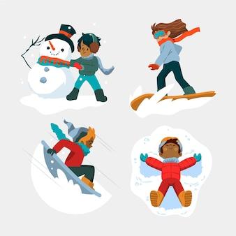 Люди, занимающиеся зимними видами спорта на открытом воздухе