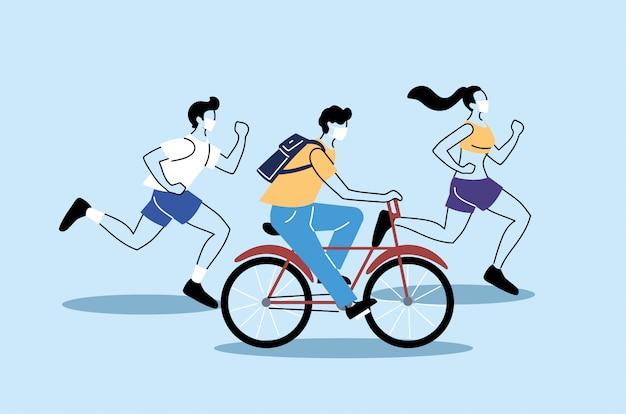 신체 활동, 건강한 라이프 스타일 및 피트니스를하는 사람들