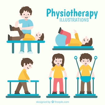 People doing physiotherapy exercises