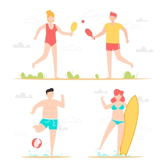 屋外でスポーツをしている人