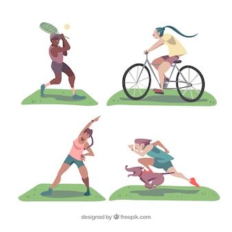 スポーツをする人々