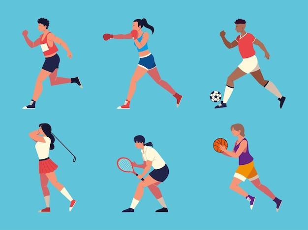 스포츠 세트, 활동 스포츠를하는 사람들