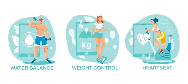 People doing sports and using gadgets for keeping control illustration set