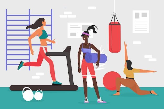 トレッドミルで体を訓練するジムの若いスポーツ女性でスポーツトレーニングをしている人々