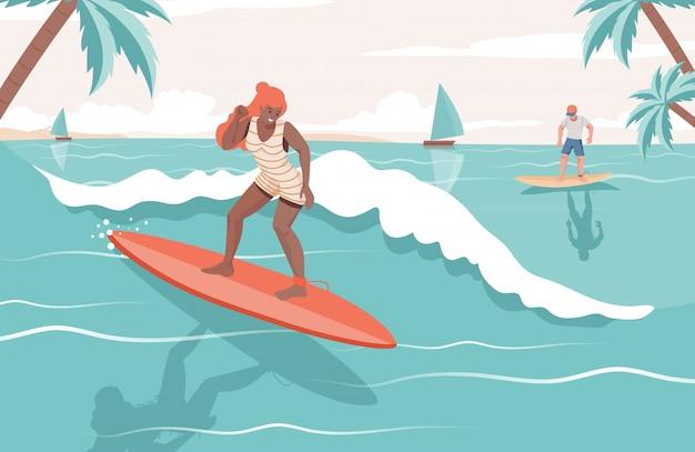 海で夏のアクティビティをしている人々。女と男のボードフラットイラストをサーフィンします。