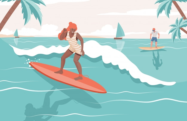 People doing summer activities in the sea. woman and man surfing on boards flat illustration.