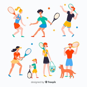 People doing tennis
