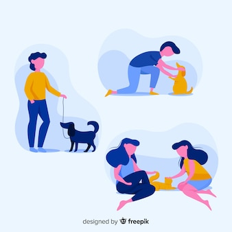 People doing things with animals collection