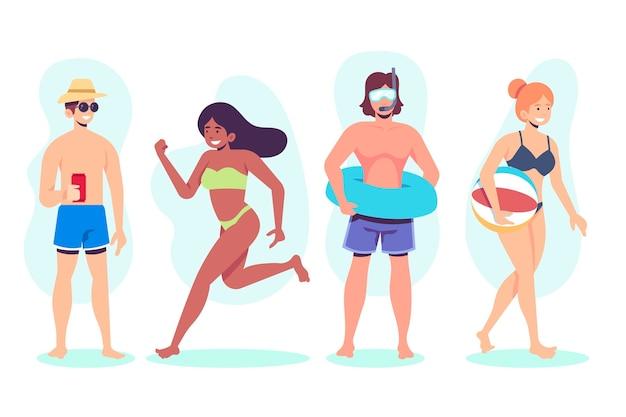 ビーチでさまざまな活動をしている人々