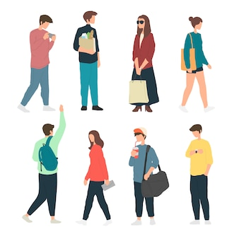 보도에서 다양한 활동을하는 사람들, 보도에서 서있는 사람들, 보행자, 걷는 사람들