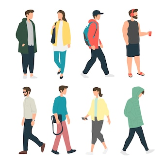 People doing various activity in the sidewalk, people standing in the side walk, pedestrians, people walking
