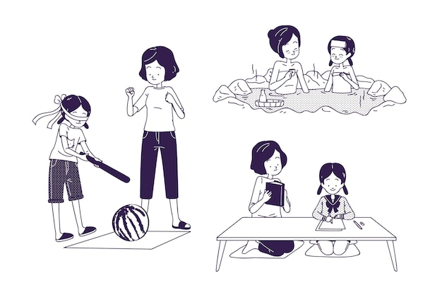 Persone che svolgono varie attività giapponesi