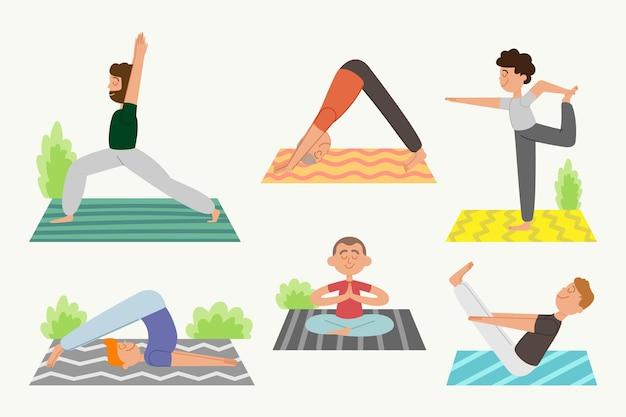 People doing yoga concept