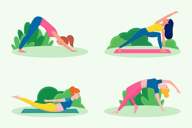 People doing yoga in flat design