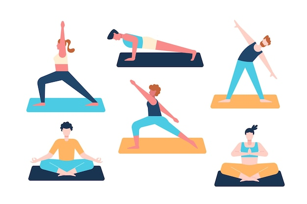 People doing yoga flat design