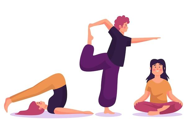 People doing yoga flat design