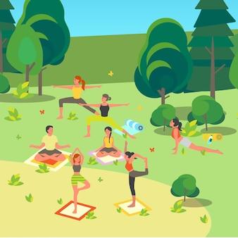 공원에서 요가를하는 사람들. 사람들을위한 아사나 또는 운동