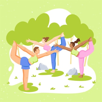 People doing yoga outdoors