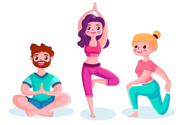 Люди делают пакет йоги