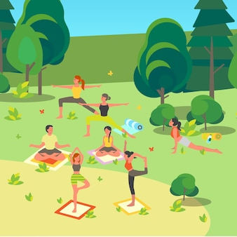 People doing yoga in the park. asana or exercise for people