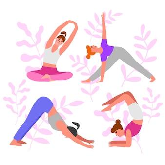 People doing yoga set