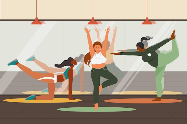 インストラクターと一緒に運動や瞑想を練習しているジムでヨガのトレーニングをしている人々