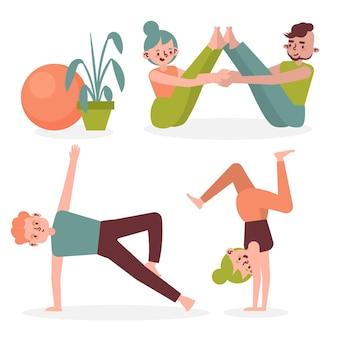 Le persone che fanno yoga
