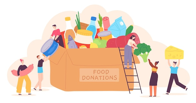 People donate food. tiny characters put grocery product in charity box. volunteer community help for poor. holiday food drive vector concept