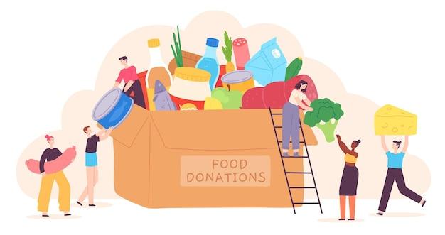 사람들은 음식을 기부합니다. 작은 캐릭터들은 식료품을 자선 상자에 넣습니다. 가난한 사람들을 위한 자원 봉사 커뮤니티. 휴일 음식 드라이브 벡터 개념