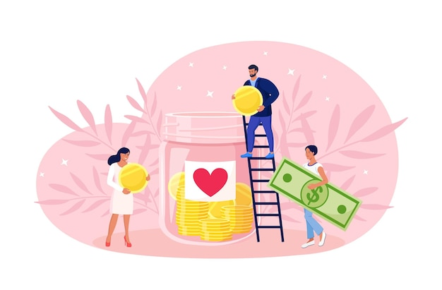 People donate money to poor men. donation, volunteering, charity. tiny volunteer on ladder throw coins and bills into huge glass jar with heart sticker
