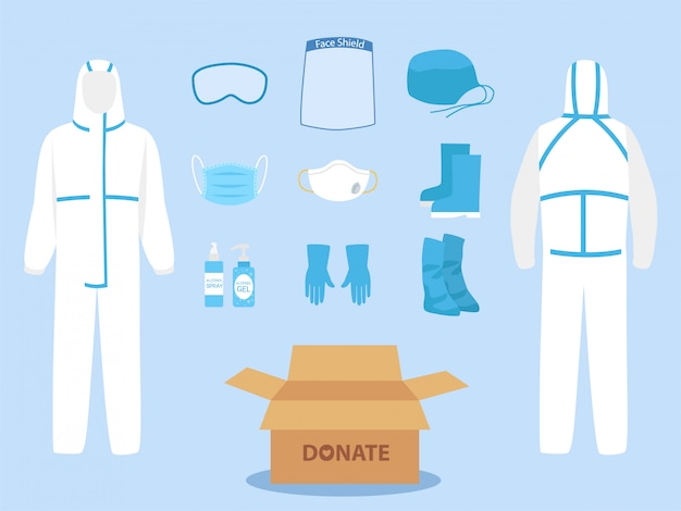 People donate ppe personal protective suit clothing isolated and safety equipment