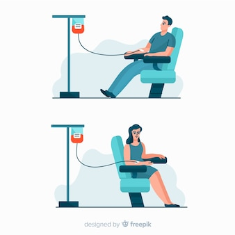 People donating blood flat design