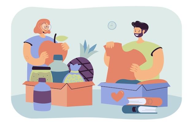 服、本、食べ物を寄付する人々。寄付のためのボランティアの梱包箱。漫画イラスト