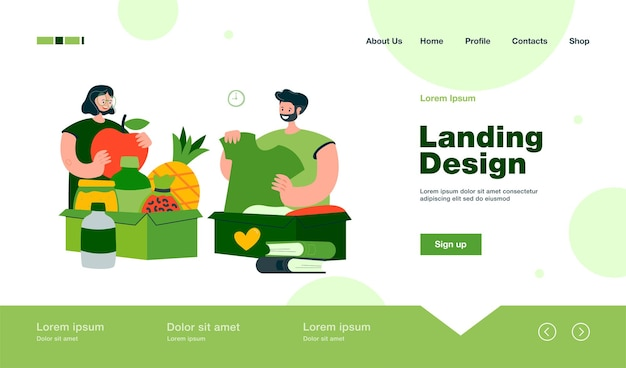 People donating clothes, books and food landing page in flat style