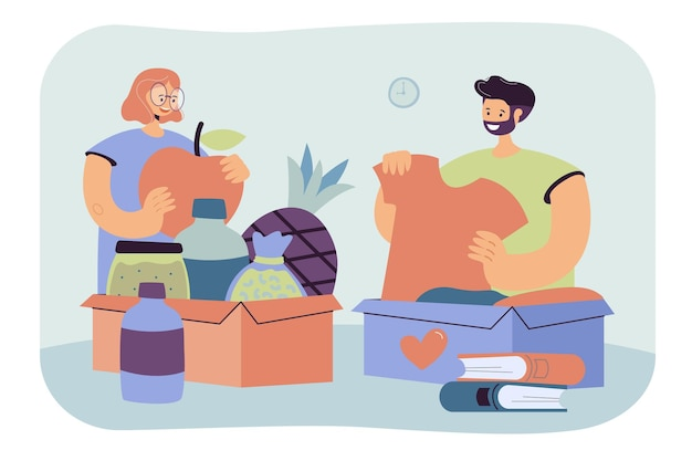 People donating clothes, books and food. volunteers packing box for donation. cartoon illustration
