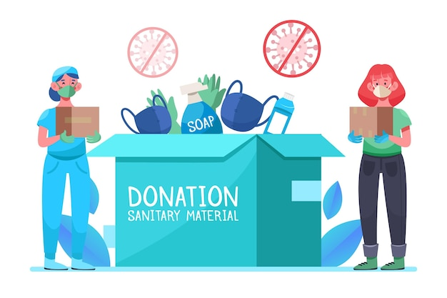 People donating sanitary material