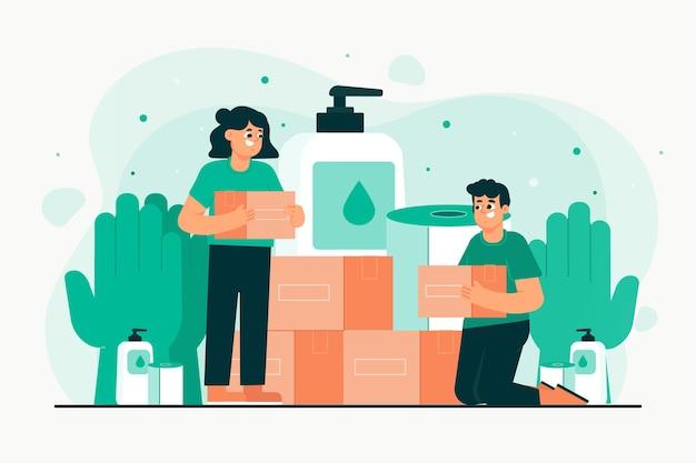 Люди жертвуют санитарный материал