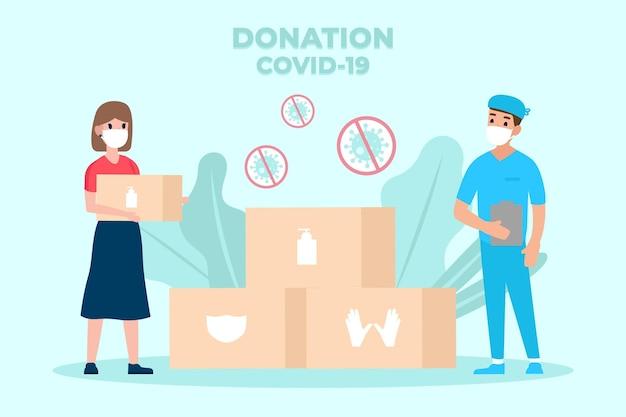 People donating sanitary material