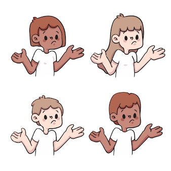 Люди сомневаются, реакция набор милый мультфильм иллюстрации