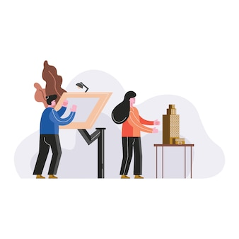 People drawing architect vector illustration